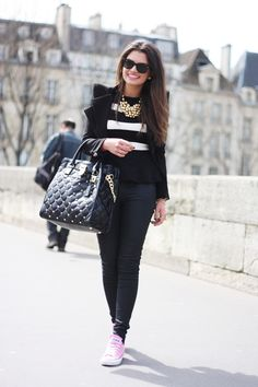 Chic black & white with pink Converse sneakers
