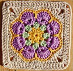 Pretty Crochet Granny Square. by mary.martindoukakis