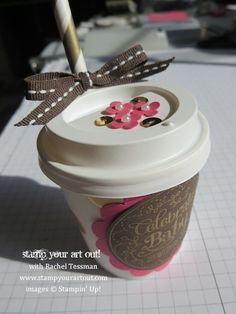 Celebrate Baby Mini Coffee Cup Shower Favor using products from Stampin' Up!® - Stamp Your Art Out! www.stampyourartout.com
