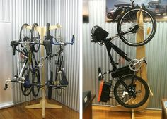 Bicycle Storage Designs - freestanding vertical bike storage for multiple bikes… Bike Storage Design, Bike Storage Rack, Rack Design, Diy Storage, Storage Ideas, Corner Storage, Bike Hanger, Bicycle Rack, Vertical Bike Storage
