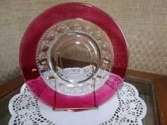 "6 Lunch Plates~ 8 1/4"" ~ King's Crown / Thumbprint ~ Indiana - Tiffin - US Glass ~ Ruby Red / Cranberry Flashed Glassware Lot by EclecticJewells on Etsy"