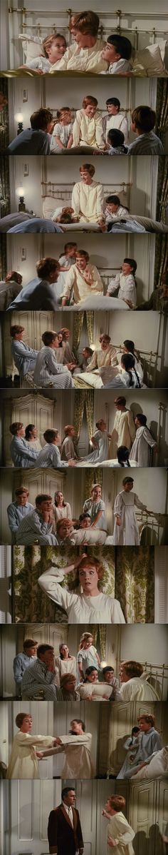 Julie Andrews as Maria singing Favorite Things for the Von Trapp children making them safe during the storm in The Sound of Music 1965