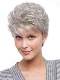 Gorgeous Wavy Short Synthetic Grey Wigs, Grey Hair Pieces For Women