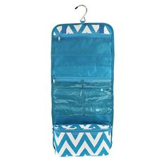 Hanging Cosmetic Storage Bag - Turquoise Chevron – A Little This, A Little That - perfect carry all for traveling, fits full sized shampoo bottles, metal hook great for hanging in hotel rooms, also great essentials for college students college girls, saves room in dorms - dorm room space saver!