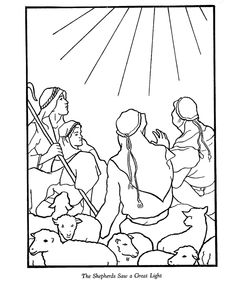 color pages sherpard christmas  | This Christmas Story coloring page shows the shepherds in the field ...
