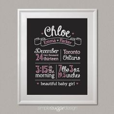 """Chalkboard Birth Announcement Stats Prints by Simple Sugar Design. Choose from two designs – """"Handsome Little Man"""" featuring three moustaches, or """"Beautiful Baby Girl"""" featuring three hearts. It also makes a thoughtful welcome home baby gift for new parents!"""