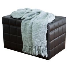 Loom-woven throw with fringed trim.   Product: ThrowConstruction Material: 100% AcrylicColor: Spa bl...