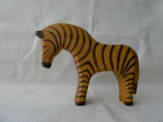 Vintage German Ostheimer Zebra figurine handmade and handpainted wooden toy by MollyWattVintage on Etsy
