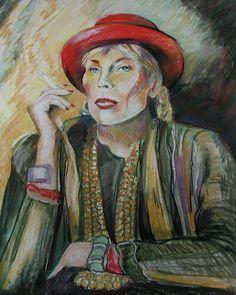 Joni Mitchell Pastel  - Joni Mitchell Fine Art Print