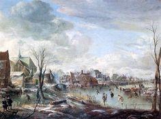 Aert van der Neer (1604 - 1677) Замёрзшая река около деревни с игроками в  гольф и катающимися на коньках.1648г.. Лондонская национальная галерея