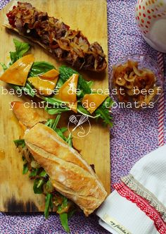 Receta Baguette de roast beef y chutney de tomates
