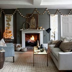 Grey Christmas living room with accents of gold | Modern Christmas living rooms | Living rooms | PHOTO GALLERY | Homes & Gardens | Housetohome.co.uk