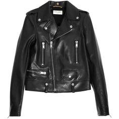 Saint Laurent Leather biker jacket ($5,290) ❤ liked on Polyvore featuring outerwear, jackets, leather jackets, coats, tops, black, biker jackets, asymmetrical zip leather jacket, moto jackets and lapel jacket