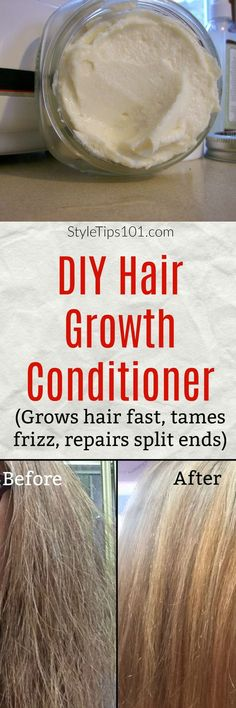 Homemade Hair Growth Conditioner For Fine & Damaged Hair 4 tbsp shea butter 1 tbsp argan oil 3 tbsp coconut oil 2 tbsp aloe vera juice 7 drops rosemary essential oil capsules vitamin E oil Natural Hair Care, Natural Hair Styles, Natural Beauty, Psoriasis Diet, Hair Repair, Tips Belleza, Belleza Natural, Hair Health, Damaged Hair