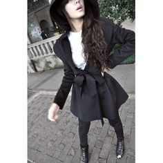 European Styles Hooded Long Sleeves Imitation Wool Long Trench with Belt