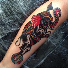 Circus elephant // love the color // tattoo by Luke Jinks