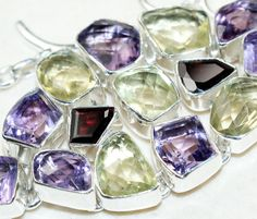 Mixed Faceted Stones bracelet designed and created by Sizzling Silver. Please visit  www.sizzlingsilver.com. Product code: BR-9617