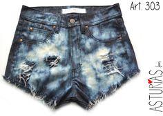 ASTURIAS INDUMENTARIA  Short Jean rigido, galaxia, cortes, flecos  ART 303