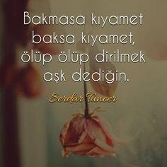 Bakmasa kıyamet baksa kıyamet, ölüp ölüp dirilmek aşk dediğin.   - Serdar Tuncer  #sözler #anlamlısözler #güzelsözler #manalısözler #özlüsözler #alıntı #alıntılar #alıntıdır #alıntısözler