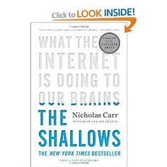 The Shallows - effective use of typography on the book cover, creates an interesting read, as we are drawn to the title down the bottom, then we slowly read up - great use of altering the focal point. Best Book Covers, Beautiful Book Covers, New Books, Good Books, Books To Read, The Shallows Nicholas Carr, Book Cover Design, Book Design, Editorial Design