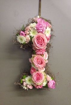 Birthday Party door hanger or decoration. One year old! Pink roses, peonies, carnations, and spray roses.: