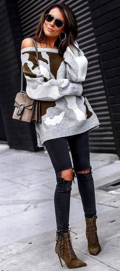 fashionable winter outfit / off shoulder sweater   bag   ripped jeans   boots