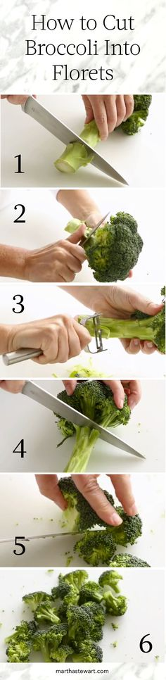 How To Cut Broccoli into Florets Video: Whether you're enjoying broccoli with your favorite vegetable dip or as a side to delicious dinner, you're going to want to cut the florets down into bite-sized pieces. We're here to help with a quick and easy method! Watch our video for complete step-by-step instructions.