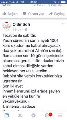 #ayet  corek-otu-yagi.com  Yasin'in son iki ayeti Love Spell Caster, Love Spells, Pray, Words, Quotes, Blog, How To Get, Health, Islamic