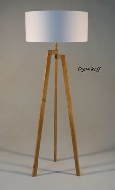 Handmade Tripod Floor lamp with unique wooden stand in natural light wood color and drum lampshade,different colors lampshade,model Zornitsa
