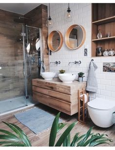Helpful design of bright bathroom ideas 18 - small bathroom - Interior Design Wooden Vanity Unit, Wood Vanity, Wooden Drawers, Big Bathrooms, Master Bathroom, Bathroom Inspo, Earthy Bathroom, Bohemian Bathroom, Bathroom Pink