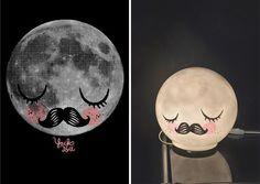 ikea-hack, vanlig vit lampa inspirerad av mommo's poster med en måne. perfekt för ett barnrum
