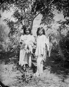 Paiute Girl and Boy, Boy Holding Quiver, Girl with Ornaments - Hillers - 1873