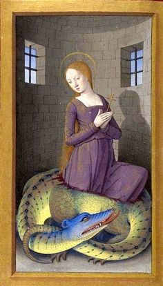 St Margaret of Antioch, patron saint of pregnancy, labour, and childbirth. Bibliothèque nationale de France, Latin 10532, detail of fol. 380. Via.