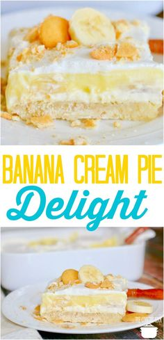 Banana Cream Pie Delight recipe from The Country Cook #desserts #bananas #recipes #ideas #pudding #cookies