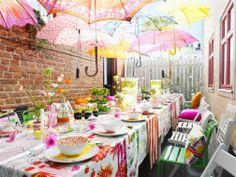 Garden party- love the umbrella idea.