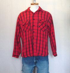 Vintage 70s PLAID LUMBERJACK OUTDOORS Grunge Seattle Thick Red Medium Large Warm Longsleeve Button Shirt
