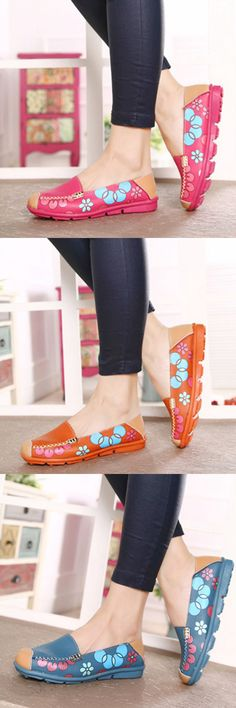 US$13.88 Leather Floral Print Slip On Flat Shoes