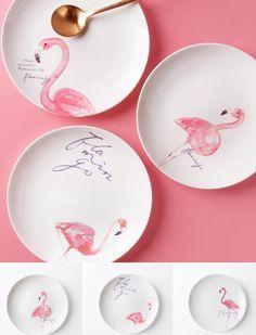 Pink Flamingo Porcelain Ceramic Dinner Plates