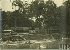 Tjisadane river in Tangerang before 1940.