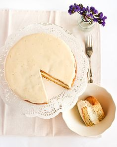 Ginger Sponge Cake with Candied Ginger Cream and a Citrus Curd Glaze by raspberri cupcakes, via Flickr