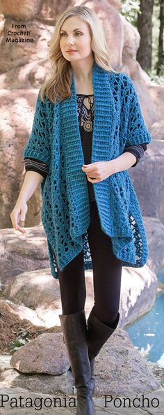 Patagonia Poncho from the Winter 2017 issue of Crochet! Magazine. Order a digital copy here: https://www.anniescatalog.com/detail.html?prod_id=139495.