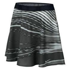 Hot, hot, hot! But still keeps you cool...TheNikeWomen's Premier Printed Maria Tennis Skirt Dark Gray and Black. #nike #tennis #skirts