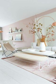 Best Interior Design Color Combos: Copper & Pink - Home Decor Decor, Home Living Room, Pink Living Room, Interior Design Color, Interior, Living Room Decor, Home Decor, Interior Design, Living Decor