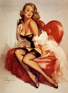 Let's share the world of fantasy: Vintage Pin-Up girls Illustrations