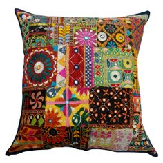 """Kutch Embroidered Patchwork Cushion Case Multicolor Indian Pillow Cover 21""""  -  Ebay $20.00"""