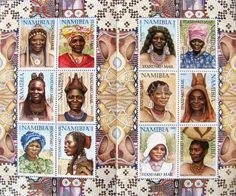 Traditional Women of Namibia postage stamp set, designed by Mary Jame Volkmann