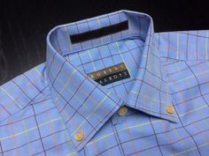 ROBERT TALBOTT Carmel Men's S Blue Green Orange Plaid Twill Long Sleeve Button-Down Shirt #RobertTalbott | Find the latest styles for your Spring Summer wardrobe. | Shop Menswear, Men's Fashion, Men's Apparel, Men's Clothes & Accessories at designerclothingfans.com