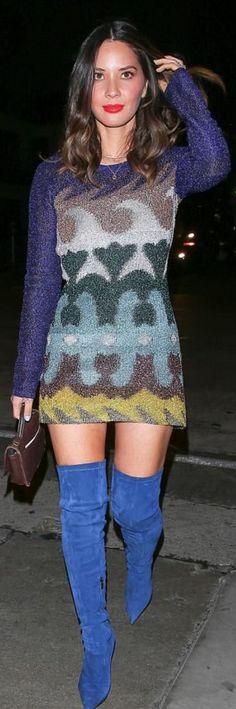 Olivia Munn Rocks Thigh-High Blue Boots for Dinner in WeHo!