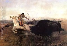 Charles Marion Russell:Indians Hunting Buffalo