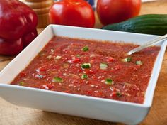 GAZPACHOis a cold Spanish-style soup made from tomatoes, olive oil, wine vinegar and other vegetables.